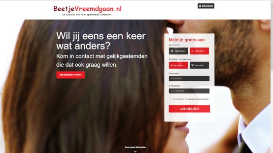 Populaire vreemdgaan site beetjevreemdgaan.nl